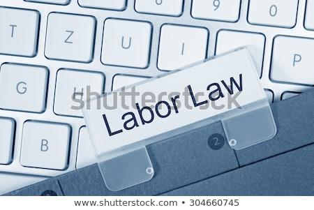 Kék mappa címke ügynökség törvény toll Stock fotó © Zerbor