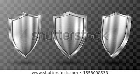 Foto stock: Metal · escudo · 3D · 3d · render · ilustração · isolado