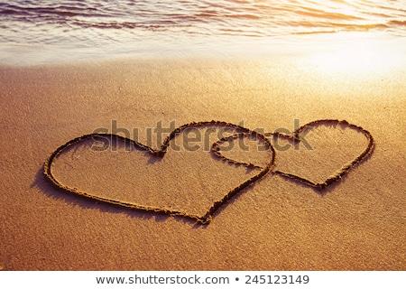 coração · areia · amor · relaxar · ondas - foto stock © koca777