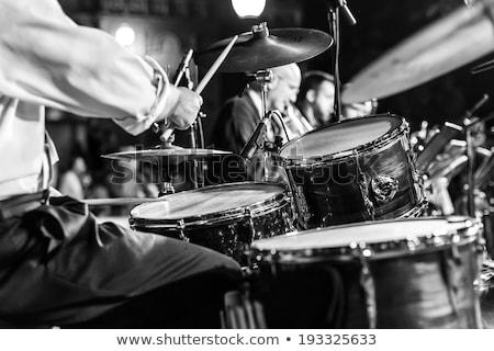 Dobos játszik dob szett fotó férfi Stock fotó © sumners