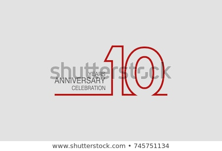 10th anniversary celebration badge label in golden color Stock photo © SArts