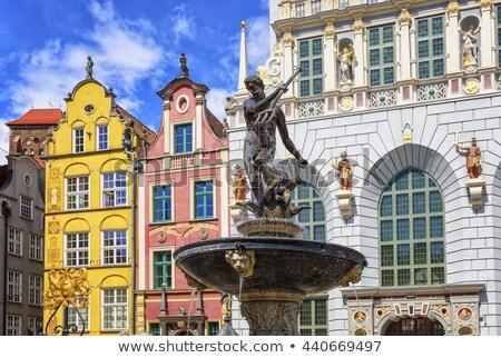 Isten · tenger · szobor · szökőkút · óváros · Gdansk - stock fotó © xantana
