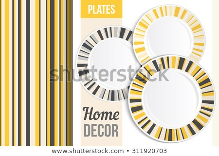 White dinner plate with yellow rim Stock photo © Digifoodstock
