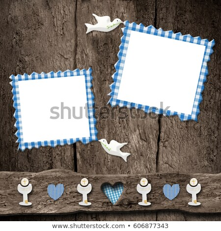 First Holy Communion, two blue photo frames Stock photo © marimorena
