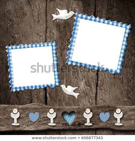 First Holy Communion, two blue photo frames Stock photo © marimorena