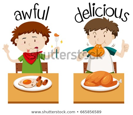 Ellenkező szavak borzasztó finom illusztráció étel Stock fotó © bluering