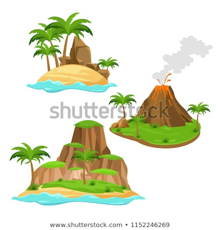 Vector flat style illustration of volcano on tropical island. Stock photo © curiosity