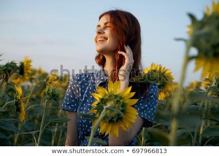 Stockfoto: Gezonde · landelijk · leven · vrouw · groene · veld