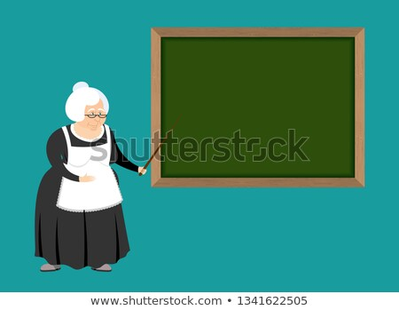 Old teacher and school board. pedagogue grandmother. Governess  Stock photo © popaukropa