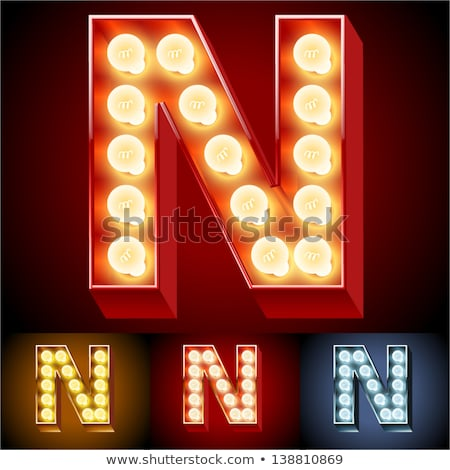 Letter N lamp glowing font. Vintage light bulb alphabet. Retro A Stock photo © popaukropa