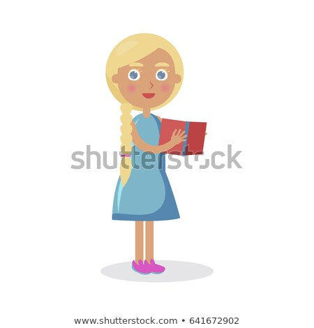 Blond Girl with Blue Eyes Holds Open Book Vector Stock photo © robuart