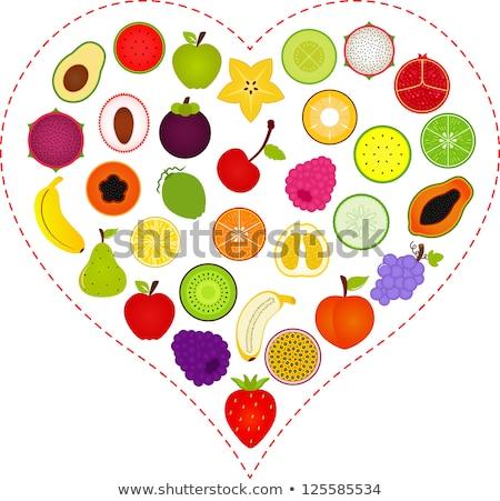 Szett gyümölcs forma szív egészséges étel alma Stock fotó © orensila