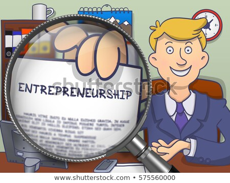 Entrepreneurship Services through Magnifying Glass. Doodle Style Stock photo © tashatuvango