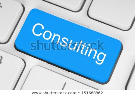 Mavi çevrimiçi danışma düğme klavye bilgisayar klavye Stok fotoğraf © tashatuvango