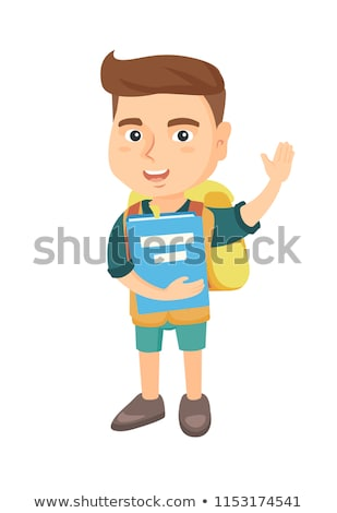 Schoolboy holding a book and waving his hand. Stock photo © RAStudio