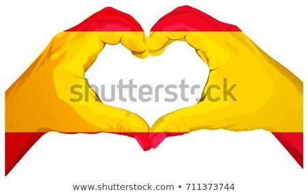Kettő pálmafák gyártmány szív alak spanyol zászló üdvözlőlap Stock fotó © orensila