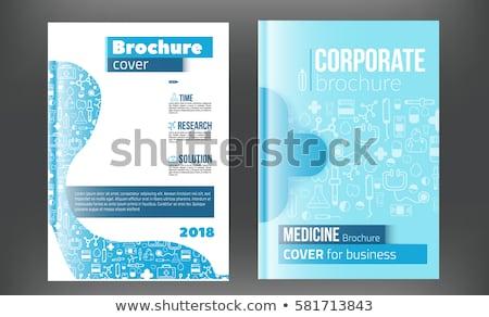 Tıbbi broşür tasarım şablonu uçan tıp simgeler Stok fotoğraf © Leo_Edition