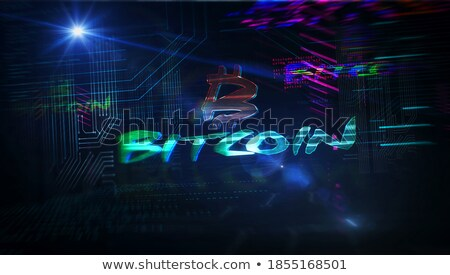 digital bitcoins symbol with light effect Stock photo © SArts