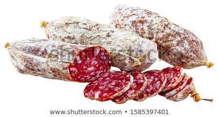 Szalámi fehér étel háttér friss kolbász Stock fotó © M-studio