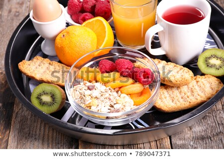 healthy breakfast with tea,egg and cereal Stock photo © M-studio