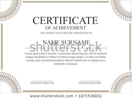certificate template with sunflowers in background stock photo © bluering