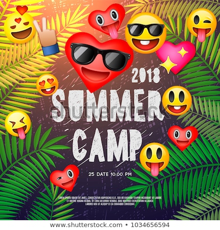 Themed Summer Camp poster, with emoji smile faces, vector Stock photo © ikopylov