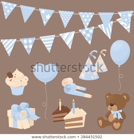 Menino teddy bolo diversão sorridente bonitinho Foto stock © IS2