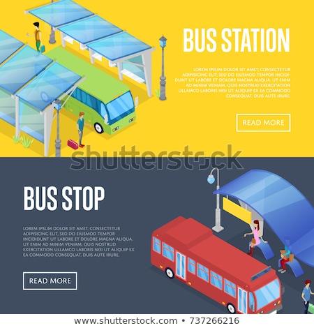 バス · 駅 · アイソメトリック · 3D · ポスター · 待って - ストックフォト © studioworkstock