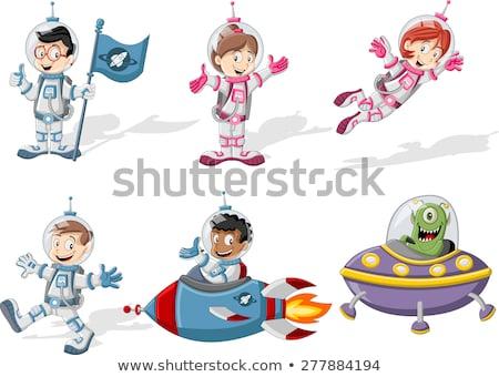 Gyerekek űrhajós tutaj hajó illusztráció pufók Stock fotó © lenm