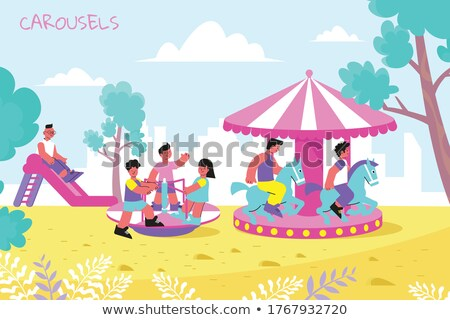 Kids on a carousel Stock photo © IS2