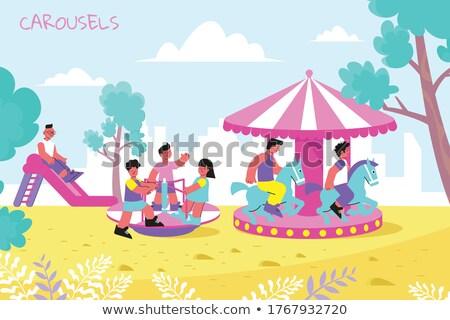 Kinderen carrousel vrouw meisje man zomer Stockfoto © IS2