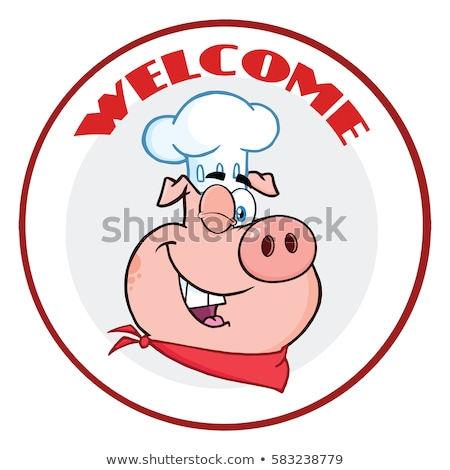 Сток-фото: повар · свинья · мультфильм · талисман · характер · круга