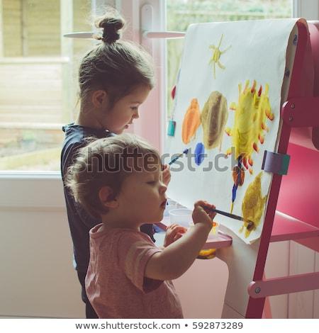 çocuklar · boyama · birlikte · çift · arka · plan · sanat - stok fotoğraf © krisdog