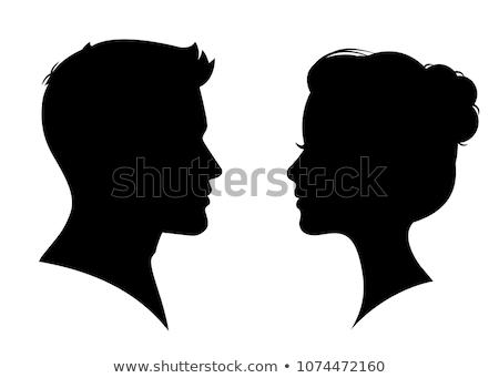 man and woman face profile, vector male female couple Stock photo © ESSL