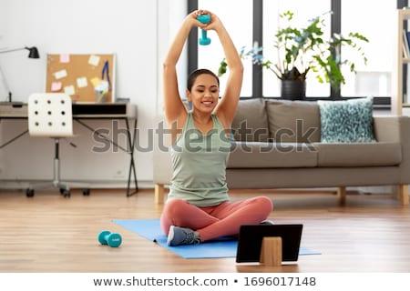 Hands Fitness App Tablet Stock photo © lenm