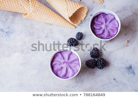 Melting balls of fruit ice cream on a gray background with copy  Stock photo © artjazz