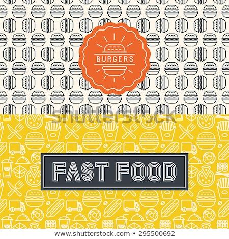 Foto stock: Fast-food · ícone · estilo · sem · costura · vetor · padrão