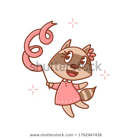 A raccoon dancing on white background Stock photo © bluering