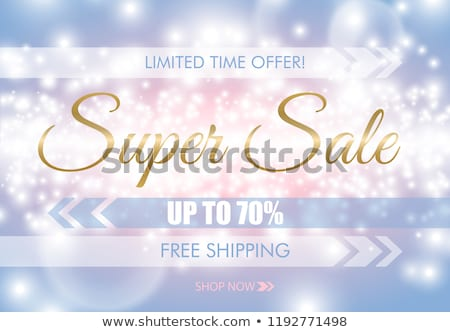 super sale glow sparkling web banner golden text on blue pink luminous background free shipping stock photo © iaroslava