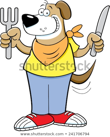 Cartoon hungry dog holding a knife and fork Stock photo © bennerdesign