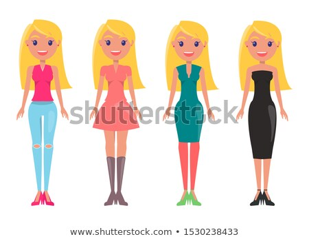 ストックフォト: ブロンド · 少女 · フェミニン · ドレス · ジーンズ · カジュアル