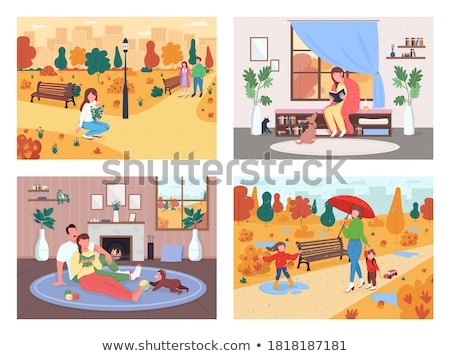 Foto stock: Family And Friends Autumn Outdoor Activity Poster