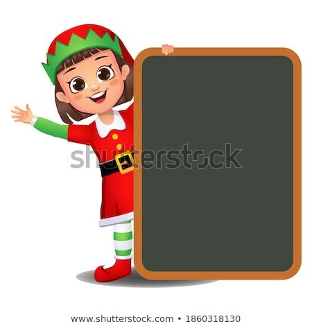 Feminino elfo verde sorrir fundo branco Foto stock © colematt