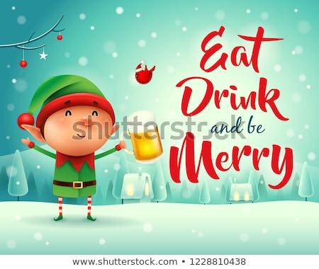 Merry Christmas! Little elf with beer in Christmas snow scene winter landscape. Stock photo © ori-artiste