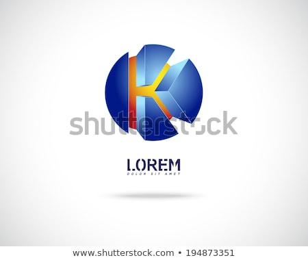 Blue and Red Glossy 3d Geometrical Letter K Vector Illustration Stock photo © cidepix