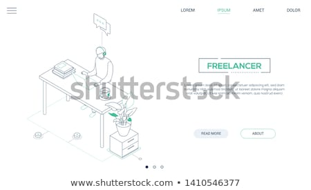 Freelance - modern line design style web banner Stock photo © Decorwithme