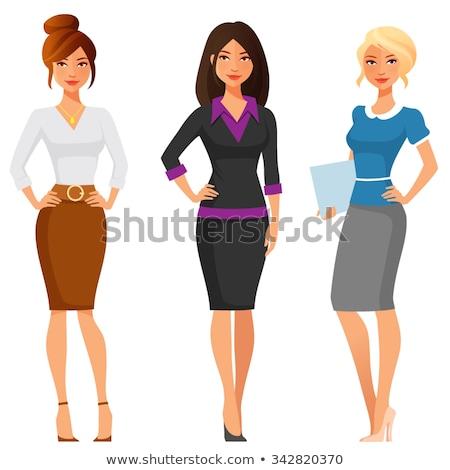 zakenvrouw · gelukkig · cartoon · glimlachend · werk - stockfoto © robuart