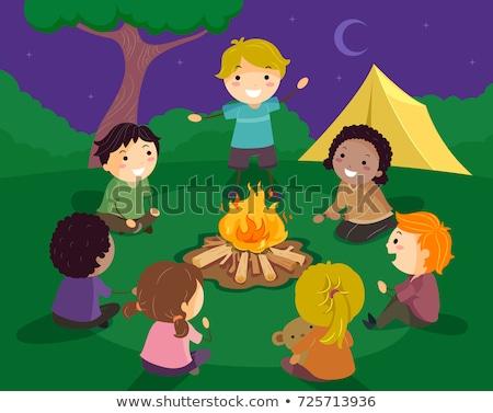 Gyerekek tábor tűz történet illusztráció körül Stock fotó © lenm