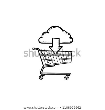 Felhő nyíl mutat bevásárlókocsi kézzel rajzolt skicc Stock fotó © RAStudio