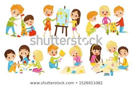 Children doing different routine activities Stock photo © colematt